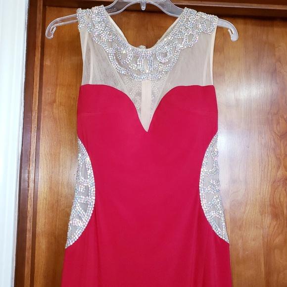 Jovani Dresses & Skirts - Jovani red prom dress beaded with train size 6